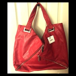 Red leather vintage Kooba shoulder bag